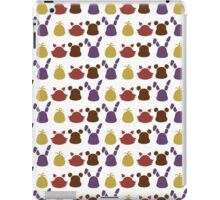Bear, bunny, chick and fox pattern -white- iPad Case/Skin