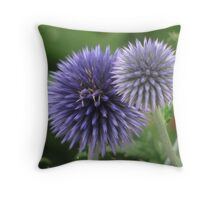 """Blue Orb Flowers"" Throw Pillow"