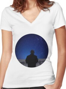 Falling Star Women's Fitted V-Neck T-Shirt