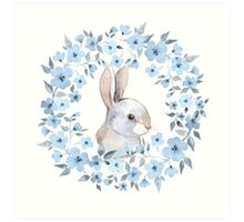 Rabbit and floral wreath Art Print