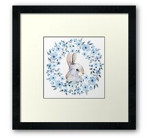 Rabbit and floral wreath Framed Print