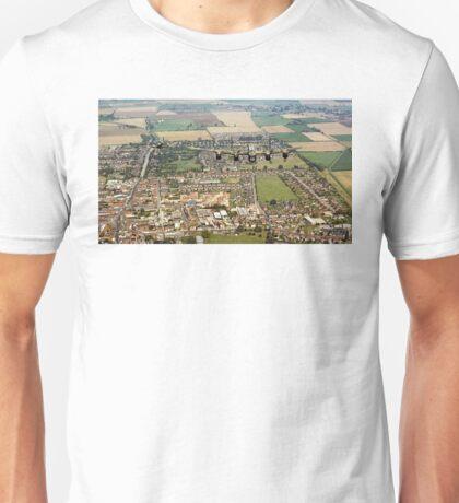 BBMF Lancaster and Hurricane over Bourne, Lincs Unisex T-Shirt