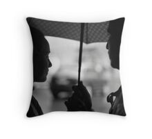 Sharing an Umbrella   Throw Pillow