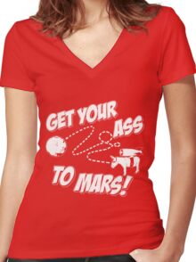 Get Your Ass To Mars white Women's Fitted V-Neck T-Shirt