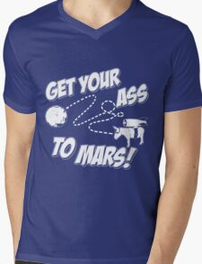 Get Your Ass To Mars white Mens V-Neck T-Shirt