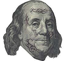 Benjamin Franklin with tattoos Photographic Print