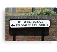 Post Office Passage sign, Hastings Canvas Print