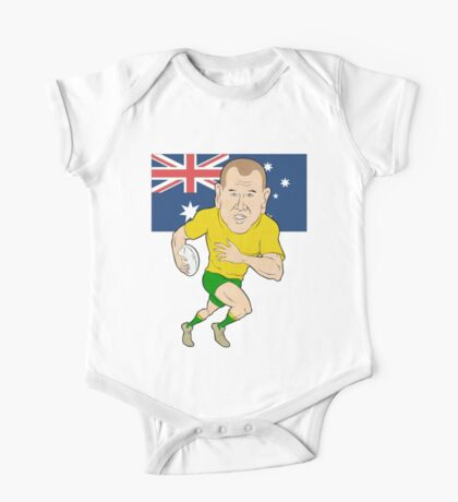 Rugby player running with ball Australia flag One Piece - Short Sleeve