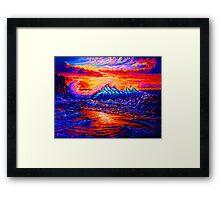 Glassy Blue and Hot Pink Sunset Framed Print