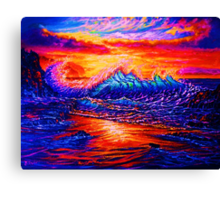 Glassy Blue and Hot Pink Sunset Canvas Print