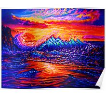 Glassy Blue and Hot Pink Sunset Poster