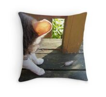 Cat after the Mouse Throw Pillow