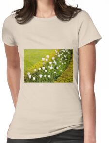 White tulips in buxus arrangement Womens Fitted T-Shirt