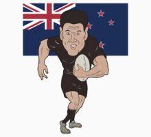 Rugby player running ball New Zealand flag T-Shirt