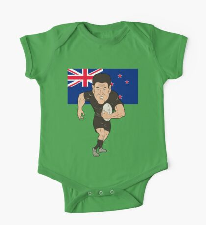 Rugby player running ball New Zealand flag One Piece - Short Sleeve