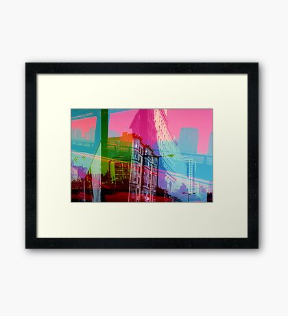Teal Torn City Framed Print