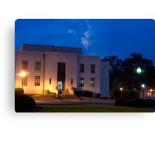 Evening Twilight Rural Town Courthouse Canvas Print