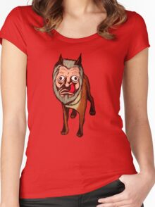 Man Faced Dog! Women's Fitted Scoop T-Shirt