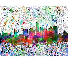 Austin skyline watercolor Photographic Print