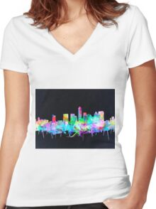 Austin skyline watercolor 2 Women's Fitted V-Neck T-Shirt