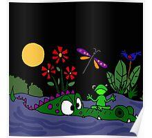 Funky Frog Sitting on Alligator Snout Poster