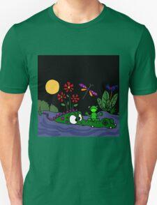 Funky Frog Sitting on Alligator Snout T-Shirt