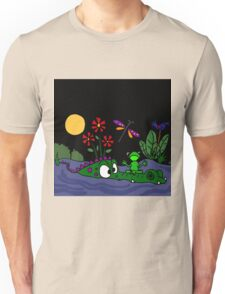 Funky Frog Sitting on Alligator Snout Unisex T-Shirt