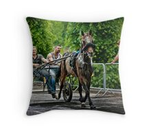 Trotting by the river Throw Pillow