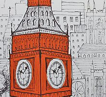 Big Ben In Orange by Adam Regester