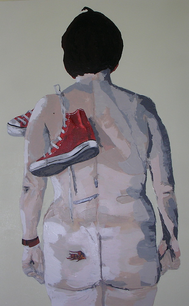 nude with converse base ball boots by JasPeaches