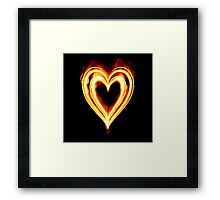 Flaming heart on Fire Framed Print