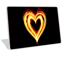 Flaming heart on Fire Laptop Skin