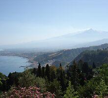 Peaceful Etna on the horizon, Taormine by jos2507