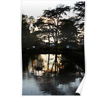 Dusk over Cheddar ponds Poster