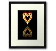 Flaming Heart on Fire with Reflection Framed Print
