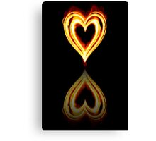 Flaming Heart on Fire with Reflection Canvas Print