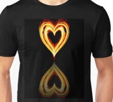 Flaming Heart on Fire with Reflection Unisex T-Shirt