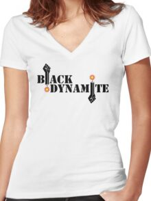 Black Dynamite (Re-exploded) Women's Fitted V-Neck T-Shirt