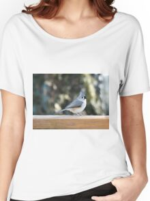 Tufted titmouse taking a break Women's Relaxed Fit T-Shirt