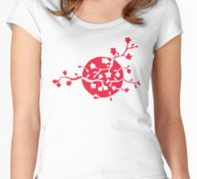 Japan flag and cherry blossom Women's Fitted Scoop T-Shirt