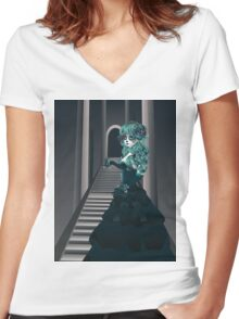 Day of the Dead Girl in Crypt Women's Fitted V-Neck T-Shirt