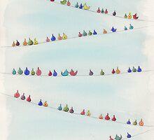 Birds on Wires by lnzart