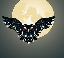 Owl and Full Moon by AnnArtshock
