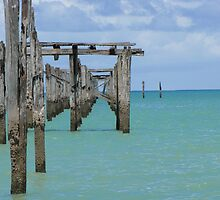 Pier view in a sunny day - Cumuruxatiba, Bahia, Brazil by JuliaDupin