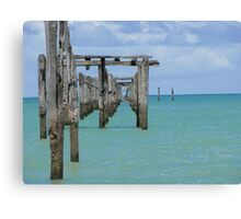 Pier view in a sunny day - Cumuruxatiba, Bahia, Brazil Canvas Print