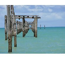 Pier view in a sunny day - Cumuruxatiba, Bahia, Brazil Photographic Print