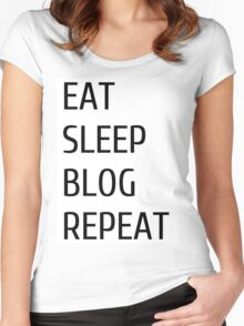 eat sleep blog repeat Women's Fitted Scoop T-Shirt