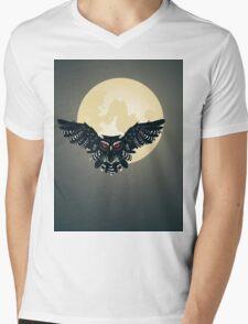 Owl and Full Moon Mens V-Neck T-Shirt