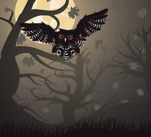 Owl in the Night Forest by AnnArtshock