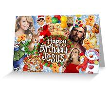 Happy Birthday Jesus Xmas Christmas collage 2 Greeting Card